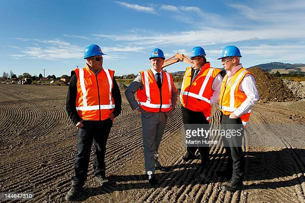 Graeme Austin of Fulton Hogan New Zealand Prime Minister John Key Canterbury Earthquake Recovery Minister Gerry Brownlee and Greg Dewe of Fulton...