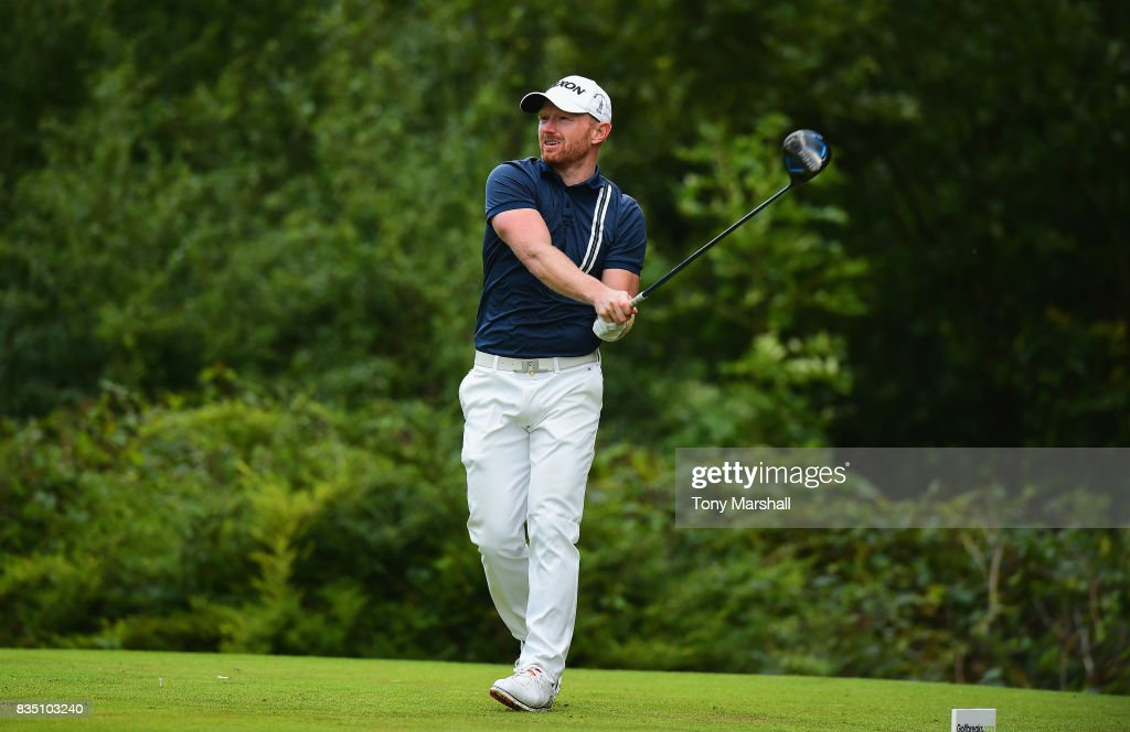 Graeme Brown of Montrose Golf Links Ltd plays his first shot on the 18th tee during the Golfbreaks.com PGA Fourball Championship - Day 3 at Whittlebury Park Golf & Country Club on August 18, 2017 in Towcester, England.
