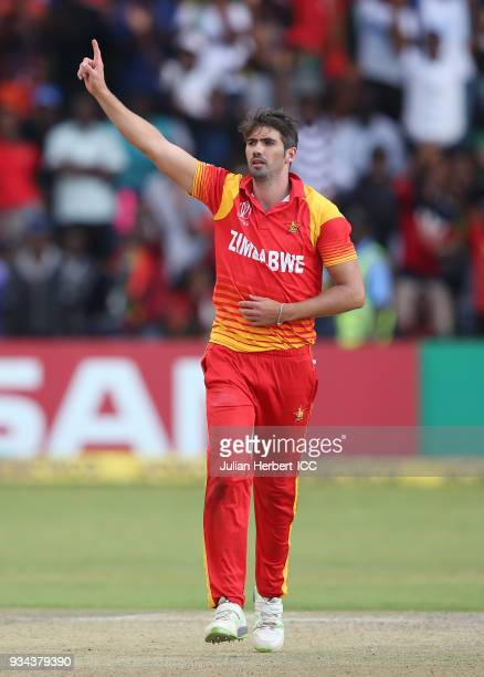 Graeme Cremer of Zimbabwe celebrates the wicket of Shimron Hetmyer of The West Indies during The Cricket World Cup Qualifier between The West Indies...