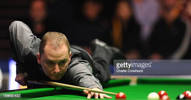 Graeme Dott of Scotland in action during his quarterfinal match against Judd Trump of England on day 6 of The Masters at Alexandra Palace on January...