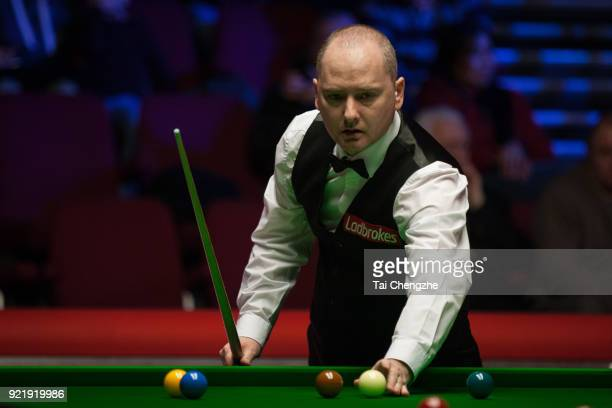 Graeme Dott of Scotland reacts during his first round match against Joe Perry of England on day two of 2018 Ladbrokes World Grand Prix at Guild Hall...