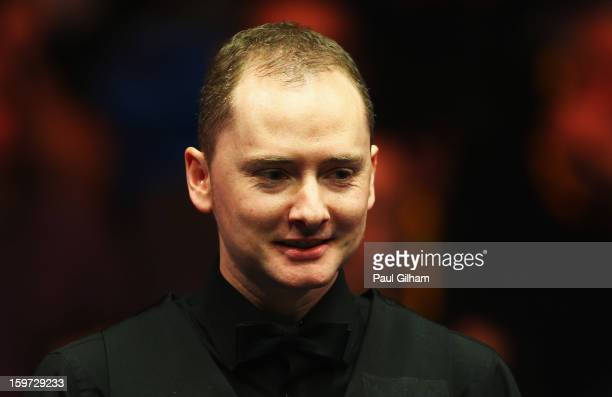 Graeme Dott of Scotland reacts during the semifinal match between Graeme Dott of Scotland and Mark Selby of England at Alexandra Palace on January 19...