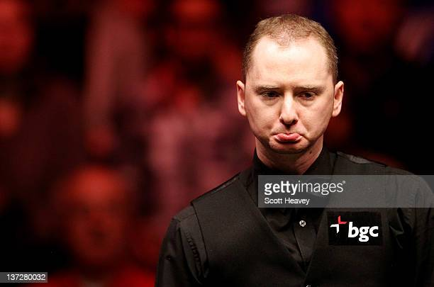 Graeme Dott reacts during his match with Allister Carter during day four of The Masters at Alexandra Palace on January 18 2012 in London England