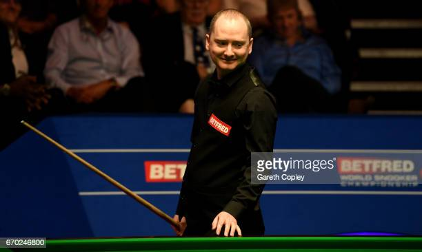 Graeme Dott smiles during their first round match of the World Snooker Championship at Crucible Theatre on April 19 2017 in Sheffield England