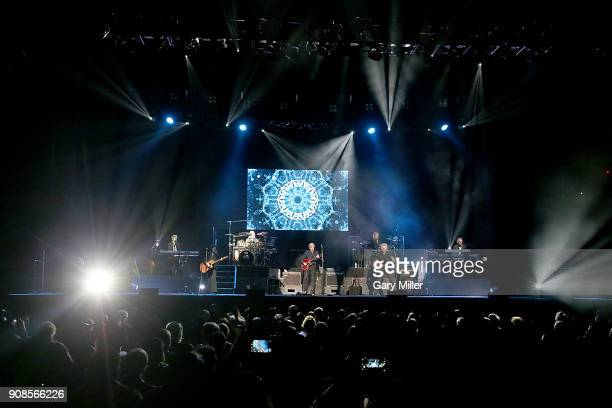 Graeme Edge Justin Hayward and John Lodge of the Moody Blues perform in concert at HEB Center at Cedar Park on January 21 2018 in Cedar Park Texas
