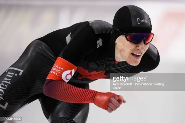 Graeme Fish of Canada competes in the men's 10000 meter during the ISU World Single Distances Speed Skating Championships on February 14 2020 in Salt...