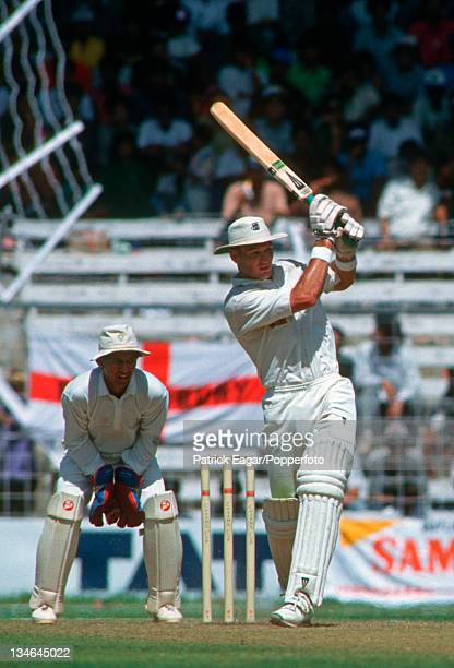 Graeme Hick batting during his 178; Kieren More is the wicket-keeper, India v England, 3rd Test, Bombay, Feb 93.