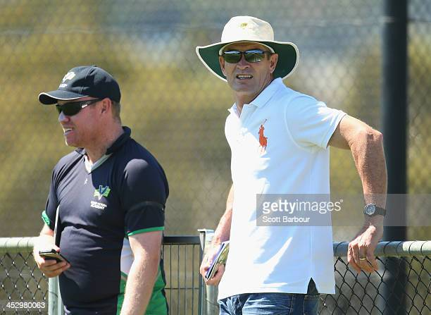 Graeme Hick High Performance Coach at Cricket Australia's Centre of Excellence and Jarrad Loughman coach of Victoria look on during the U19...