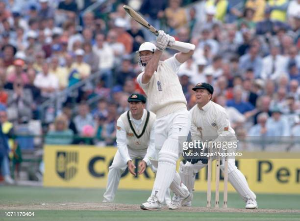 Graeme Hick of England batting during his innings of 34 runs in the 1st Ashes Test match between England and Australia at Old Trafford Manchester 4th...