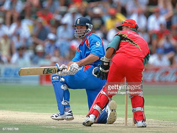 Graeme Hick of England batting during his innings of 80 runs in the 3rd One Day International between Zimbabwe and England at Harare Zimbabwe 20th...
