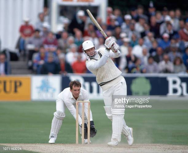Graeme Hick of Worcestershire hits a boundary during the Benson and Hedges Cup Semi Final between Essex and Worcestershire at Chelmsford 12th June...