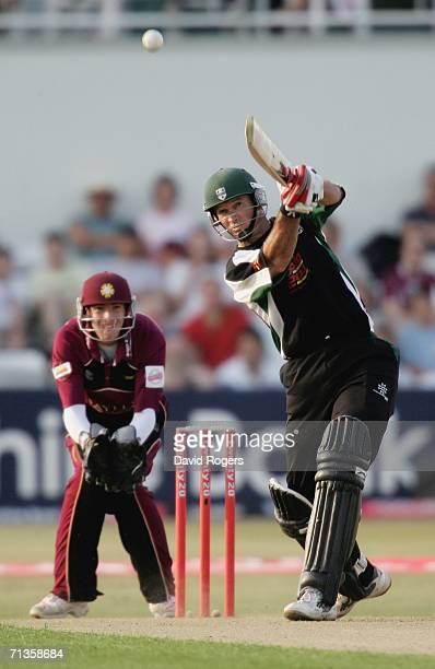 Graeme Hick of Worcestershire hits a four during the Twenty20 match between Northamptonshire Steelbacks and Worcestershire Royals at the County...
