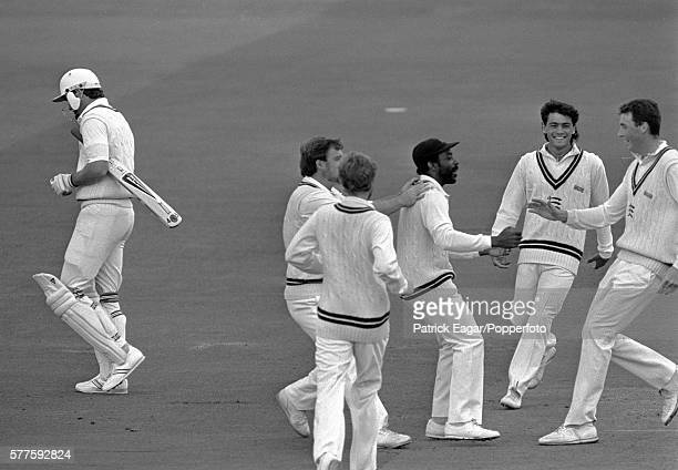 Graeme Hick of Worcestershire walks off after being bowled by Angus Fraser of Middlesex for 4 runs during the NatWest Bank Trophy Final between...