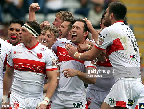 Graeme Horne of Hull KR celebrates scoring a try with teamates during the First Utility Super League match between Hull FC and Hull KR at St James'...