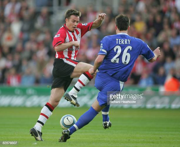 Graeme Le Saux of Southampton tries to go around John Terry of Chelsea during the FA Barclays Premiership match between Southampton and Chelsea held...