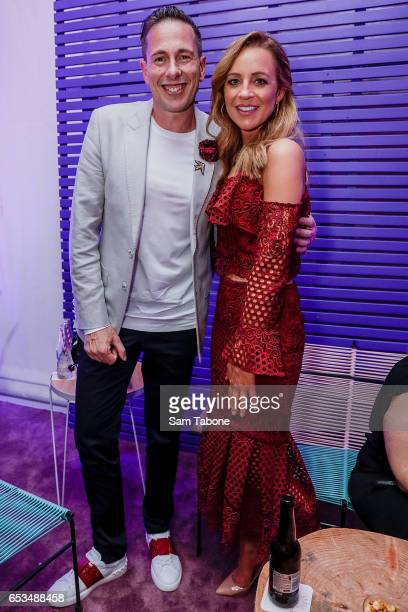 Graeme Lewsy and Carrie Bickmore entertained by the Virgin Aust Runway Bar arrives ahead of the VAMFF 2017 Premium International Designer Showcase 1...