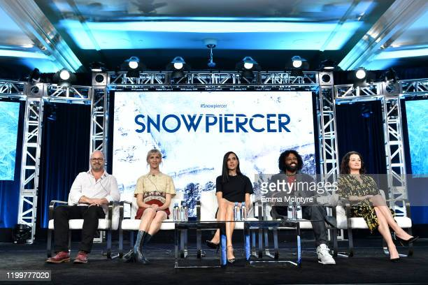 Graeme Manson Mickey Sumner Jennifer Connelly Daveed Diggs and Alison Wright of 'Snowpiercer' appear onstage during the TNT segment of the 2020...