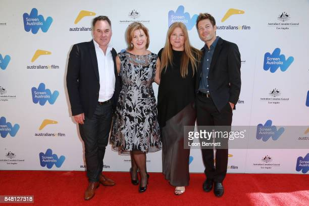 Graeme Mason Liane Moriarty Bruna Papandrea and Per Saari attends he 2017 Australian Emmy Nominee Sunset Reception on September 16 2017 in Beverly...