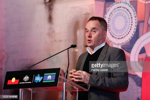 Graeme Mason speaks at a media call of the 25th Anniversary of Screen Australia's Indigenous Department at Carriageworks on August 30 2018 in Sydney...