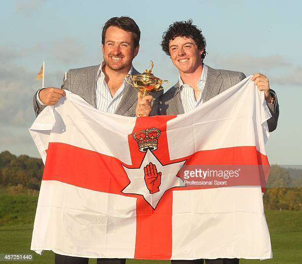 Graeme McDowell and Rory McIlroy with the Ryder Cup Trophy at the 38th Ryder Cup at the Twenty Ten Course at Celtic Manor in Newport Wales on Monday...