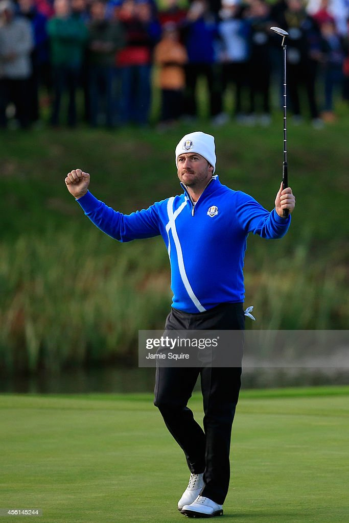 Graeme McDowell of Europe celebrates victory on the 16th hole during the Afternoon Foursomes of the 2014 Ryder Cup on the PGA Centenary course at the Gleneagles Hotel on September 26, 2014 in Auchterarder, Scotland.