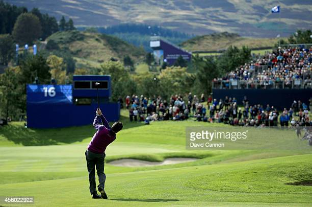 Graeme McDowell of Europe on the 16th hole during practice ahead of the 2014 Ryder Cup on the PGA Centenary course at the Gleneagles Hotel on...