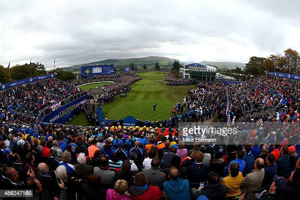 Graeme McDowell of Europe tees off on the 1st hole during the Singles Matches of the 2014 Ryder Cup on the PGA Centenary course at the Gleneagles...