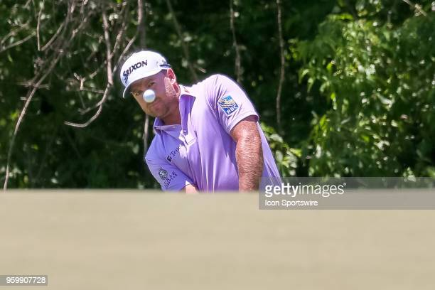 Graeme McDowell of Ireland chips on to the 9th green during the second round of the 50th anniversary AT&T Byron Nelson on May 18, 2018 at Trinity...