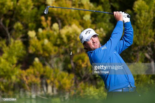 Graeme McDowell of Northern hits his tee shot on the 12th hole during third round of the 110th US Open at Pebble Beach Golf Links on June 19 2010 in...