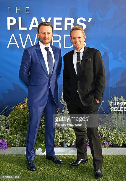 Graeme McDowell of Northern Ireland and Luke Donald of England attend the European Tour Players' Awards ahead of the BMW PGA Championship at the...
