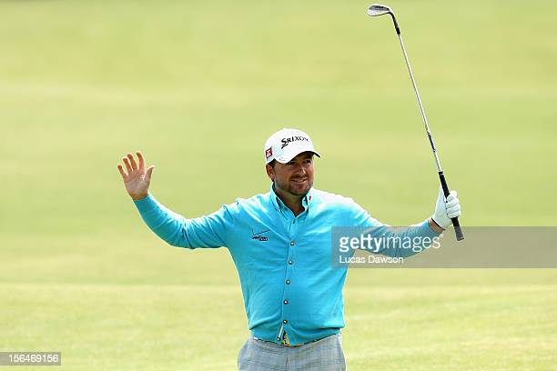 Graeme McDowell of Northern Ireland celebrates a eagle during day two of the Australia Masters at Kingston Heath Golf Club on November 16, 2012 in...