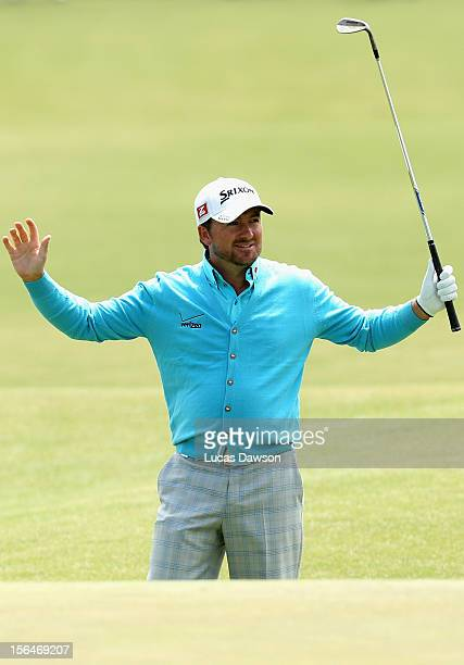 Graeme McDowell of Northern Ireland celebrates a eagle during day two of the Australia Masters at Kingston Heath Golf Club on November 16 2012 in...