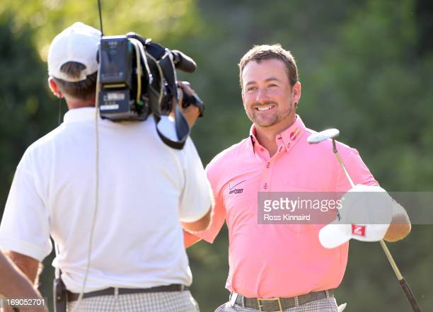 Graeme McDowell of Northern Ireland celebrates after beating Thongchai Jaidee 21 in the final of the Volvo World Match Play Championship at Thracian...