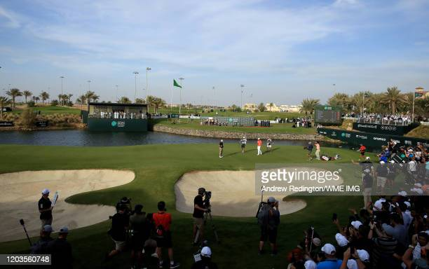 Graeme McDowell of Northern Ireland celebrates after winning the Saudi International at Royal Greens Golf and Country Club on February 02 2020 in...