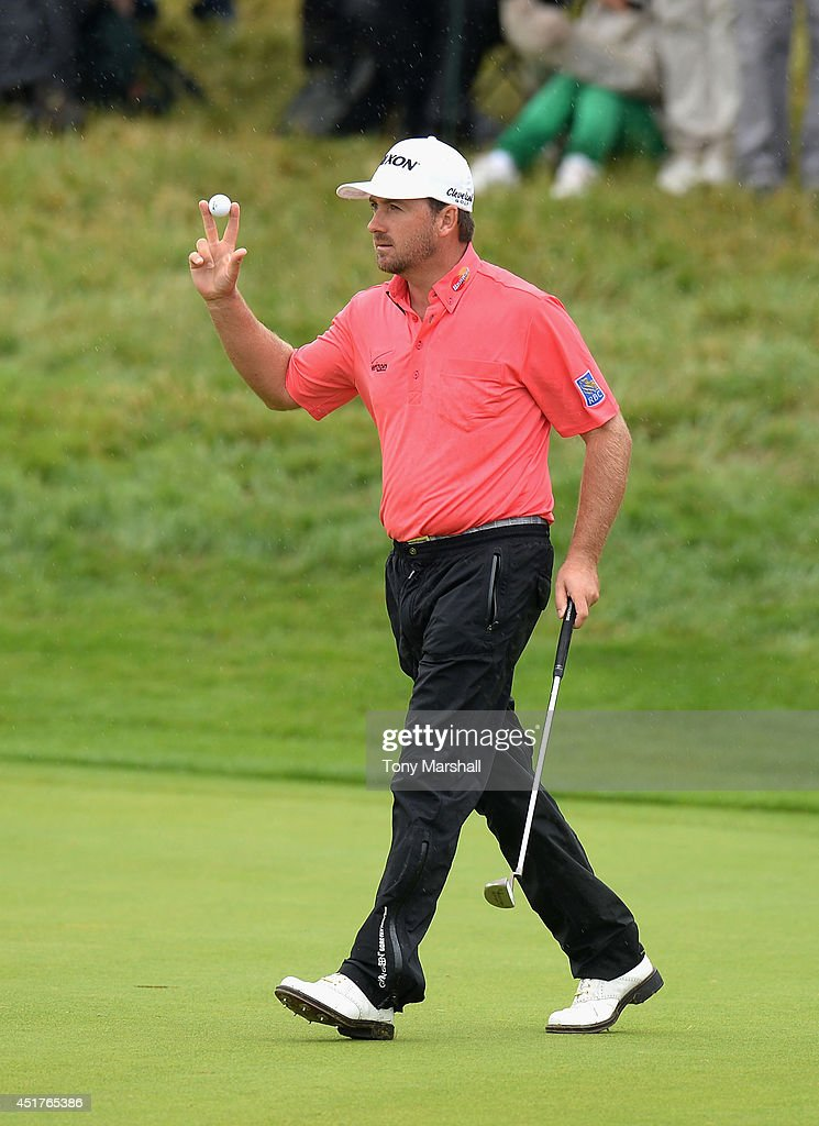 Graeme McDowell of Northern Ireland celebrates going 6 under on the 16th green during the Alstom Open de France - Day Four at Le Golf National on July 6, 2014 in Paris, France.