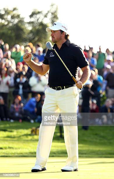 Graeme McDowell of Northern Ireland celebrates victory as he holes the winning putt on the 18th green during the final round of the Andalucia...