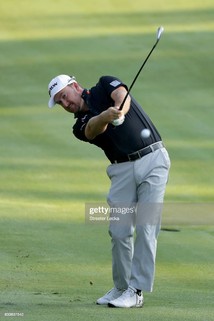 Graeme McDowell of Northern Ireland hits a shot on the 11th hole during the first round of the Wyndham Championship at Sedgefield Country Club on August 17, 2017 in Greensboro, North Carolina.
