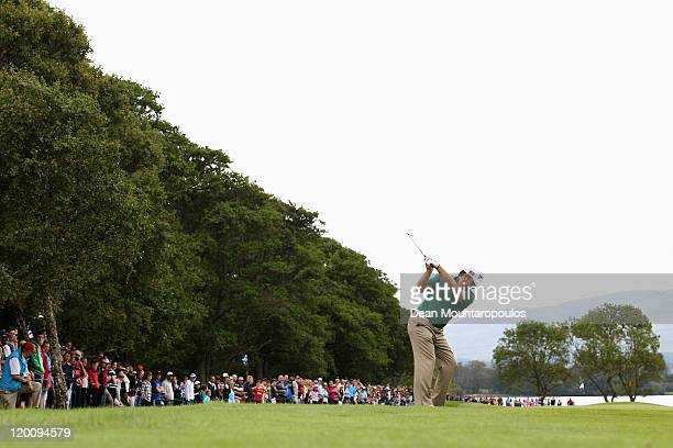 Graeme McDowell of Northern Ireland hits his second shot on the 4th hole during the Third Round of the Discover Ireland Irish Open held at Killarney...