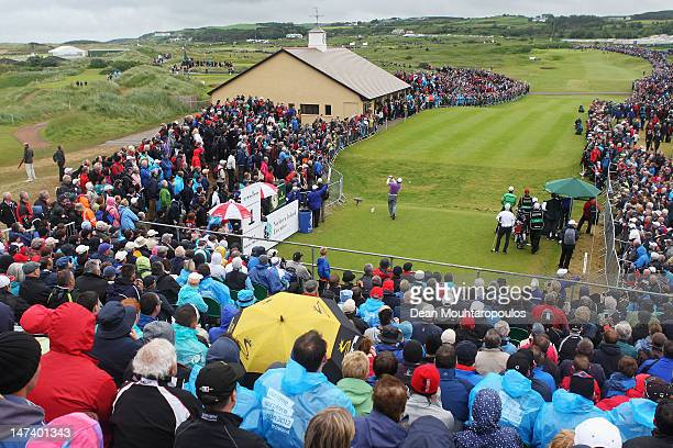 Graeme McDowell of Northern Ireland hits his tee shot on the 1st hole during Day Two of the 2012 Irish Open held on the Dunluce Links at Royal...