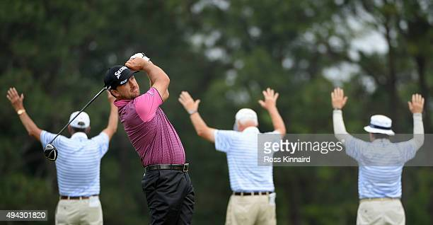 Graeme McDowell of Northern Ireland hits his tee shot on the fourth hole during the first round of the 114th US Open at Pinehurst Resort Country Club...