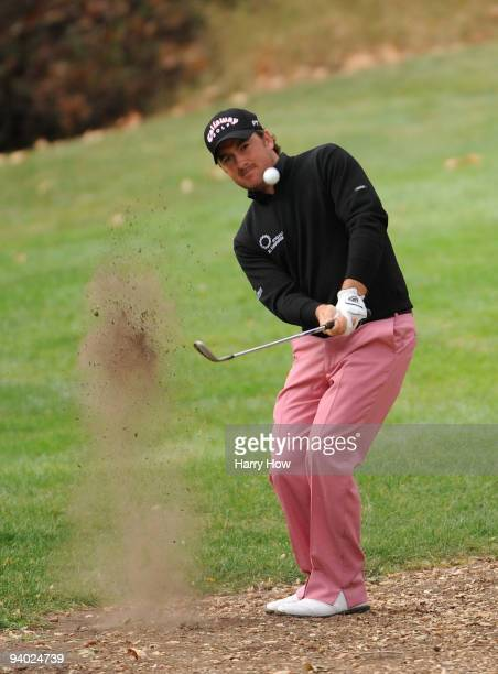 Graeme McDowell of Northern Ireland hits out of the rough on the 16th hole during the third round of the Chevron World Challenge at Sherwood Country...