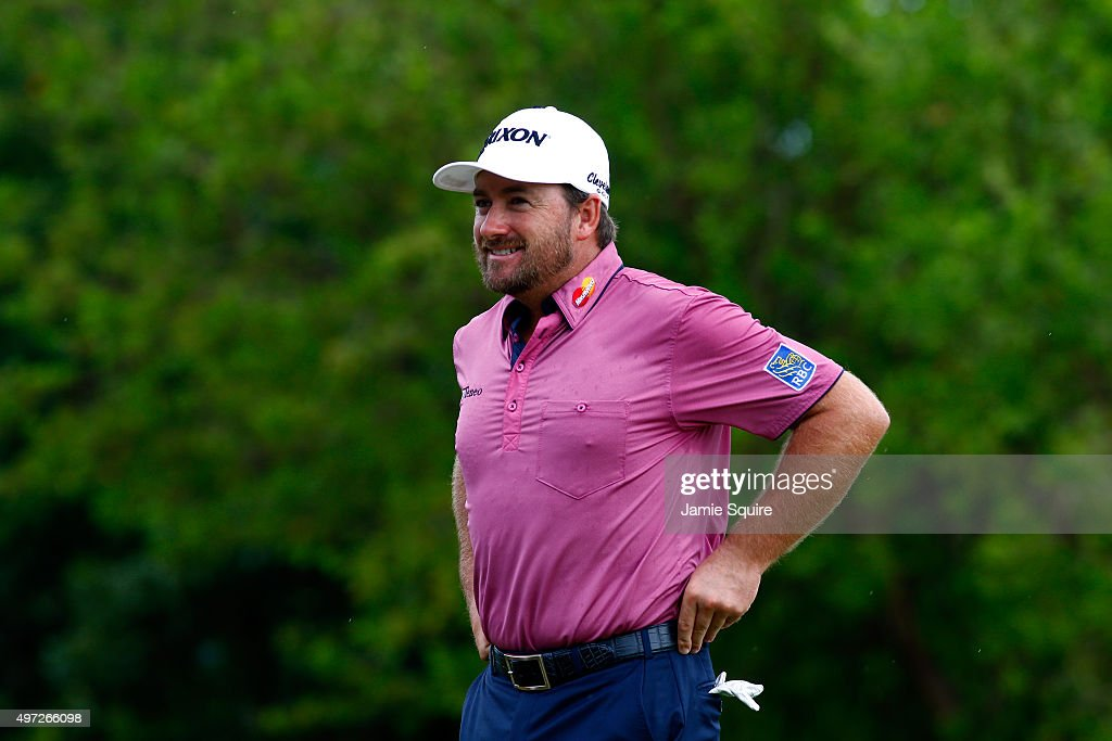 Graeme McDowell of Northern Ireland looks on before hitting his first shot on the 2nd hole during the final round of the OHL Classic at the Mayakoba El Camaleon Golf Club on November 15, 2015 in Playa del Carmen, Mexico.