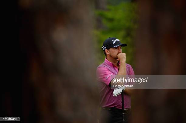 Graeme McDowell of Northern Ireland looks on from the fourth tee during the first round of the 114th US Open at Pinehurst Resort Country Club Course...