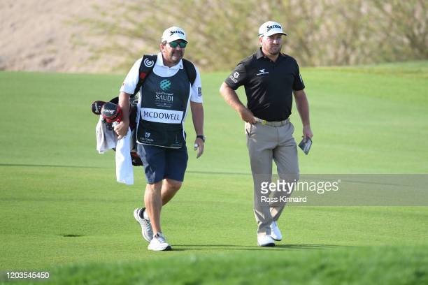 Graeme McDowell of Northern Ireland looks on on the 18th hole during Day 4 of the Saudi International at Royal Greens Golf and Country Club on...