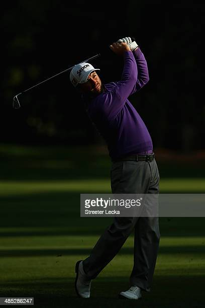 Graeme McDowell of Northern Ireland plays a shot on the 11th fareway during the first round of the RBC Heritage at Harbour Town Golf Links on April...