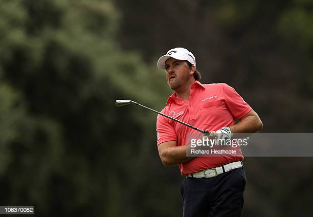 Graeme McDowell of Northern Ireland plays into the 16th green during the third round of the Andalucia Valderrama Masters at Club de Golf Valderrama...