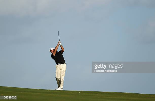 Graeme McDowell of Northern Ireland plays into the 16th green during the final round of the Andalucia Valderrama Masters at Club de Golf Valderrama...