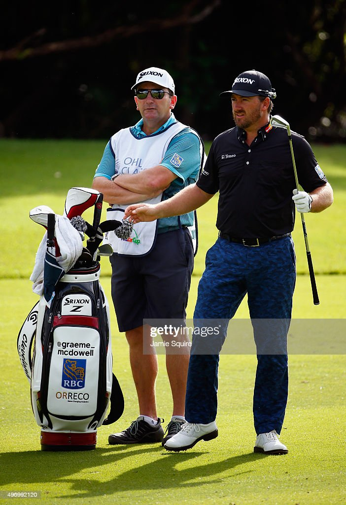 Graeme McDowell of Northern Ireland pulls a club on the 18th hole during the second round of the OHL Classic at the Mayakoba El Camaleon Golf Club on November 13, 2015 in Playa del Carmen, Mexico.