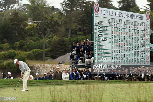 Graeme McDowell of Northern Ireland putts for par on the 18th green during the final round of the 110th U.S. Open at Pebble Beach Golf Links on June...