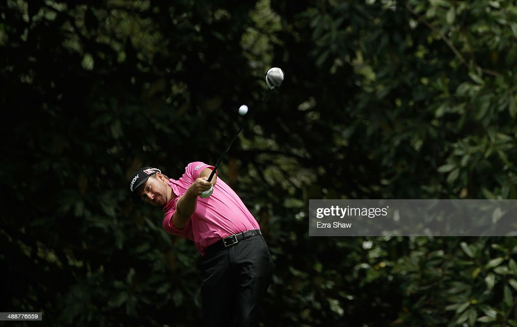 Graeme McDowell of Northern Ireland tees off on the 11th hole during a practice round at Augusta National Golf Club on April 8, 2014 in Augusta, Georgia.